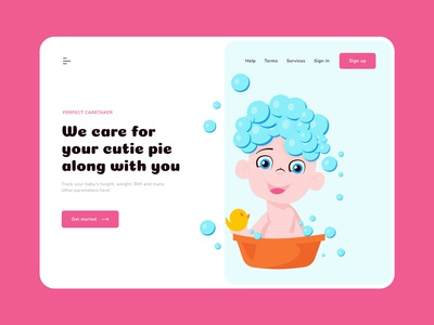 Baby care - web design colourscheme childcare child care baby typography colours branding practicing illustration illustraor vector design