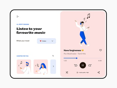 Music player - Web design music player ui illustration design music player music website web ui minimal flat typography colours branding practicing illustration illustraor vector design
