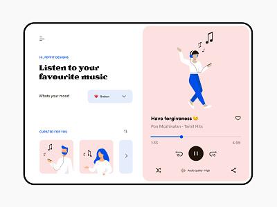Music player - Web design music player ui illustration design music player music website web ui minimal flat typography colours branding practicing illustration illustraor vector design