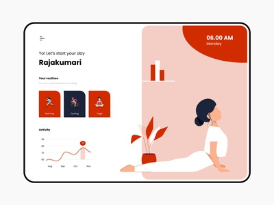 Fitness keeper - Web design minimalistic flat girl website exercise yoga web minimal typography colours branding practicing illustration illustraor vector design