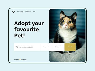 Pet adoption - Web design petshop pet care pets minimalist website web web ui web design adoption adopt dog cat pet minimal typography colours branding practicing design