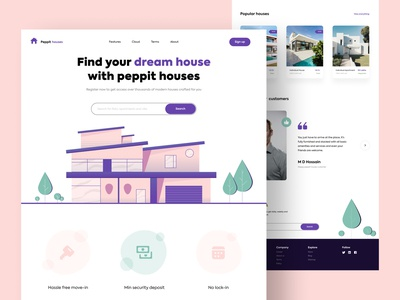 Find your dream house - Web design web ui ui web minimal flat colours typography home screen houses sell rent house home branding practicing illustration illustraor vector design