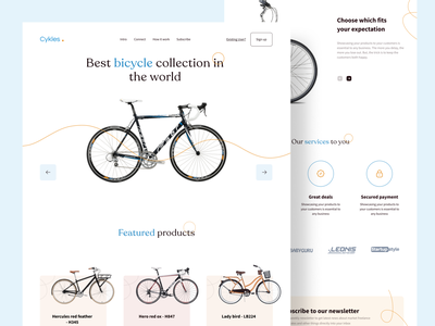 Cykles - Web design buy clean clean ui branding design web design website ui design uiux ui web cycles online store online shop shopping cycle flat colours typography branding design