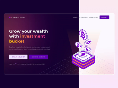Investment bucket - Crypto investing platform bitcoin isometric illustration isometric design minimal web design website gradient colourful trading blockchain crypto dark theme light ui dark ui web colours typography branding vector design