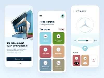 Smart homie colours onboarding app concept download typography dashboard app mob ui clean ui mobile ui ui home smart branding illustration figma vector design