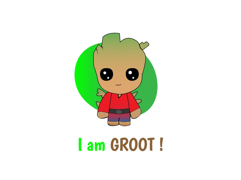 I Am Groot cool simple cute cute baby groot vector comic marvel avengersendgame avengers groot graphics design illustration adobe ilustrator