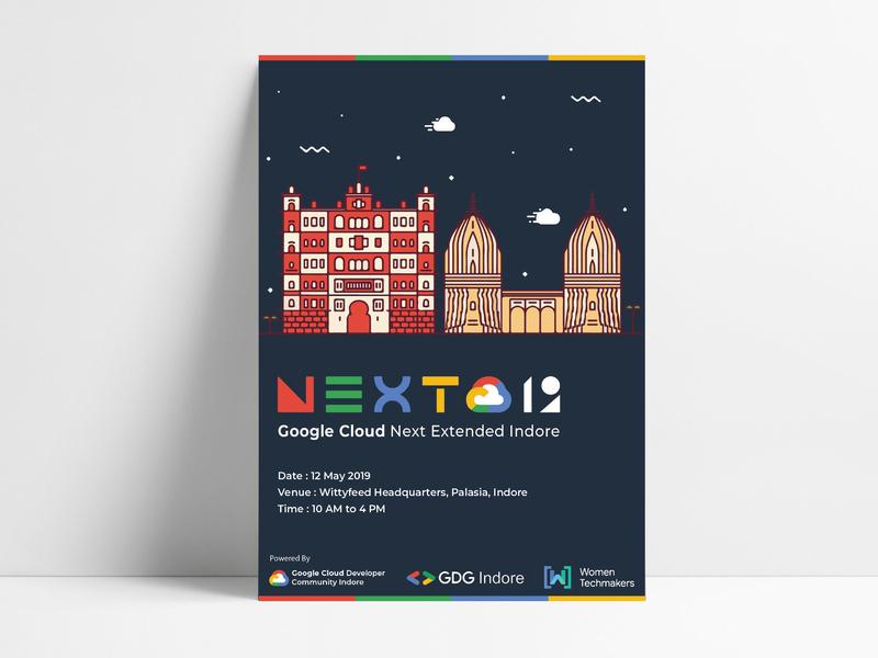 Google Cloud Next 2019 cloud typography graphic designer developer illustration indore poster art poster design poster google next extended google branding adobe ilustrator design graphics design