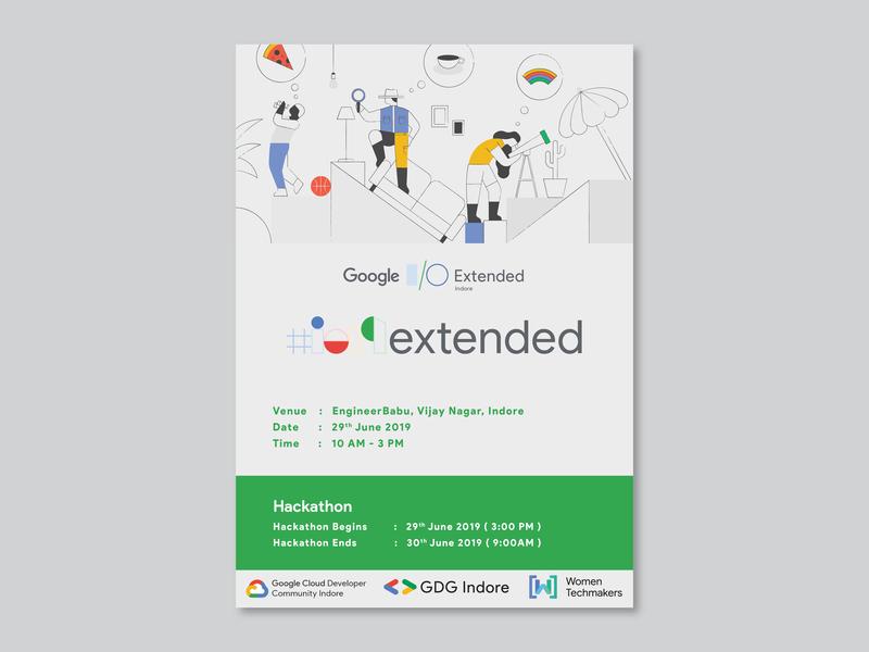 Google I/O Extended 2019 india cool design poster art google event branding banner design banner poster design poster typography design adobe ilustrator graphics design