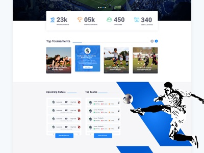 Sports Organiser Platform designs layoting graphics uxdesign uxui game players football player club sports web website layoutdesign illustration branding typography ux landing page design