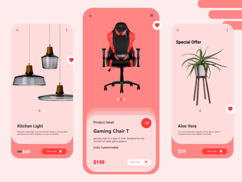 Furniture E-Commerce App | IOS Design design ios design flat mobile ui uiux mobile app design e-commerce design furniture design pink ios app design clean ui application design