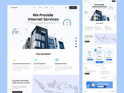 WuzzNet - ISP landing Page design tech wifi digital agency isp services landing isp clean ui ux ui design ui web landing page webdesign website web design