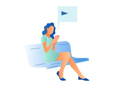 Girl with a smartphone vector illustration
