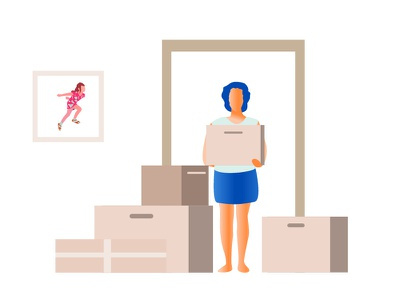 The girl moves to a new apartment vector illustration