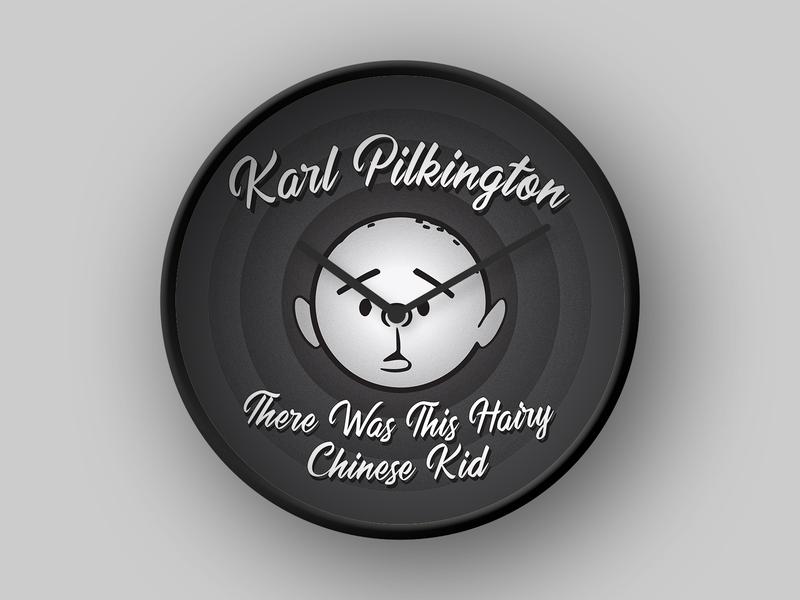 Karl Pilkington japan china gervais ricky looney tunes looney mockup creative clock kp pilkington karl hebert 4d 3d cinema vector design illustration logo illustrator