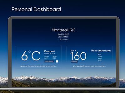 Personal Dashboard UI bus weather ui dashboard