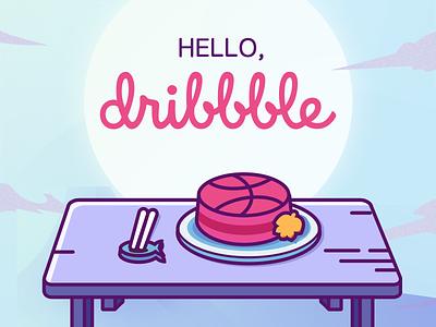 Hello, Dribbble! cake cat invitation dribbble debut balloon