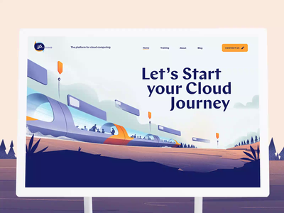 Homepage Website for a new Cloud Startup parallax homepage landing cloud computing cloud