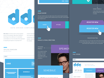 Conference Branding: DDC Homepage design (Case study) case study mixpanel homepage branding blue purple wireframes