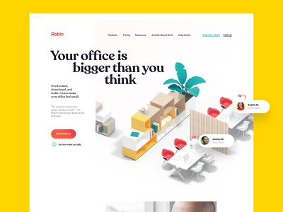 Homepage, Website for Robin | 3D Illustration saas office yellow hero landing page homepage logo identity brand identity