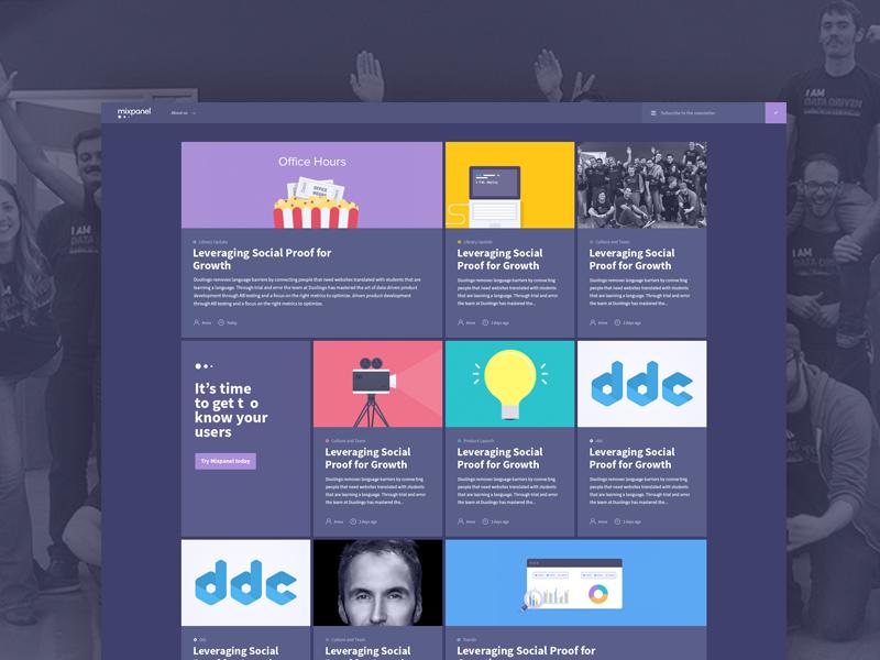 Mixpanel New Blog Design blog design blue illustrations grid