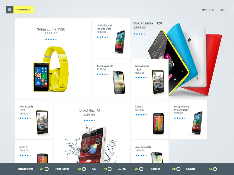 Ui Phone Listing Layout Design yellow modular design grid layout