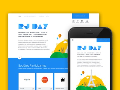 Rjday Landing page design landing page homepage event website illustration