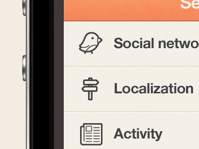 New IOS iPhone app design | Settings UI,UX interface  ui interface apps design iphone brown blue orange