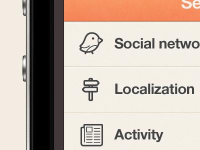 New IOS iPhone app design | Settings UI,UX interface  ui interface apps design iphone brown blue orange