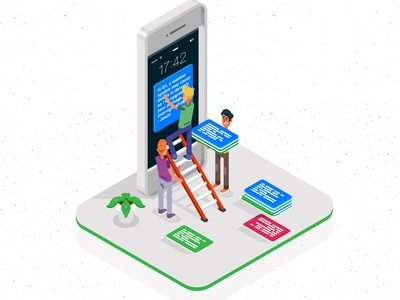 Animated Isometric Illustrations for helpshift characters illustrations phones motion