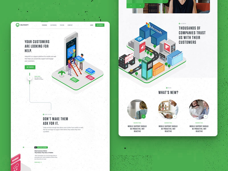 Helpshift's new homepagepreview  customer service customer texture green homepage landing page