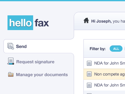HelloFax Dashboard Web App table Design | UI ui interface apps design icons dashboard