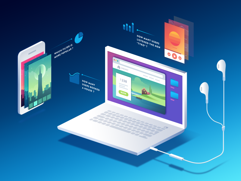 Isometric / Data visualization for the New Illustration isometric illustrations gradient landing page