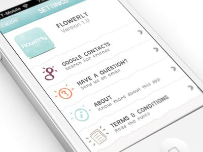 Iphone App Settings UI for Flowerly!  ui iphone app settings