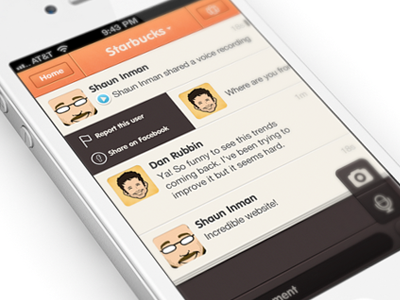 ChatCheckin design iPhone app | UI / UX chat tchat ui iphone app interface orange blue white design