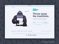 HelloFax homepage design concept   mascot illustration