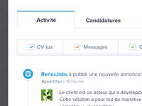 RemixJobs new Activity tab UI design