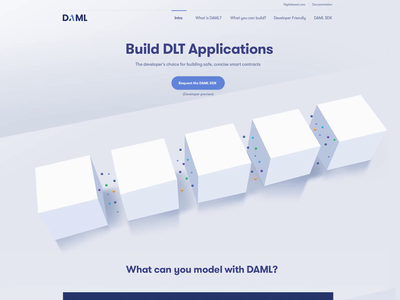 Website for a Blockchain Startup | Daml particules cubes 3d homepage distributed ledger blockchain