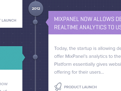Timeline / homepage about us design for Mixpanel  timeline about us mixpanel blue ui interface design