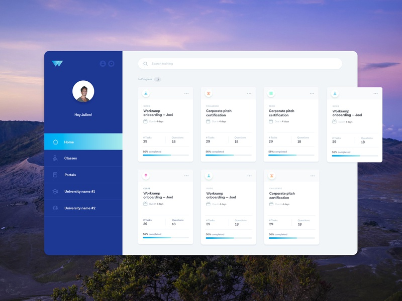 Dashboard for a Training Web App ui dashboards applications webapp