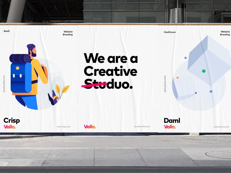 Voila Branding Print, Poster, SaaS, Blockchain Illustrations brand guidelines brand design brand identity brand illustrations billboards posters logo identity branding