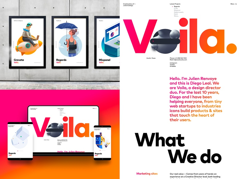 Voila Homepage, Posters, Identity design idendity posters homepage