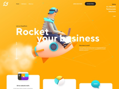 Homepage design for AI startup artificial intelligence homepage landing page 3d 3d characters motion