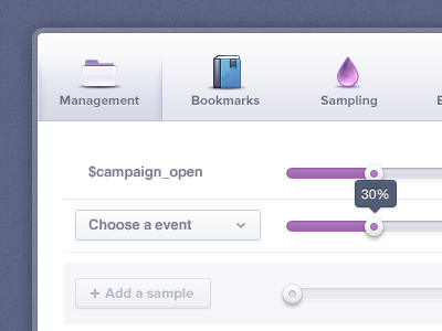 Profile Modal App window UI | Icons  icons modal pop over management bookmark sampling email mail notificcations dropdowns purple blue