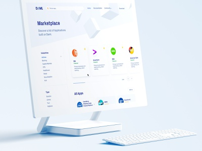Marketplace design for FinTech startup listings listing crypto blockchain isometric identity branding homepage marketplace