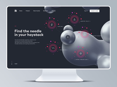 3D Motion Features Page Website for an AI Startup data visualization illustrations icons 3d landing pages product page landing page homepage identity dark motion branding ai artificial intelligence