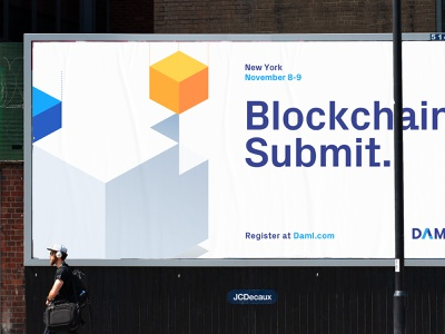 Daml Branding identity isometric icons billboard posters blockchain illustrations isometric fintech branding