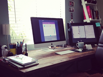 New office space office apple home desk