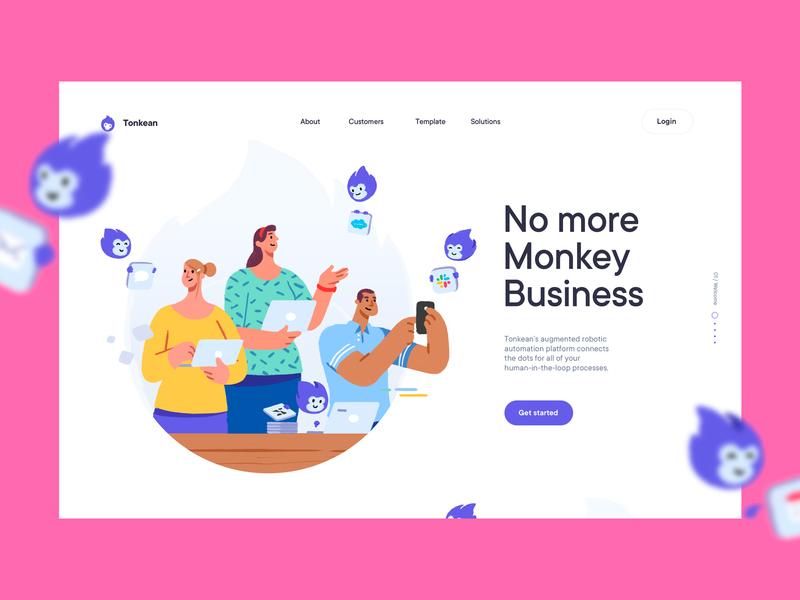 Homepage Hero's Composition Design | SaaS Website/UI saas monkey icons illustrations pink hero website
