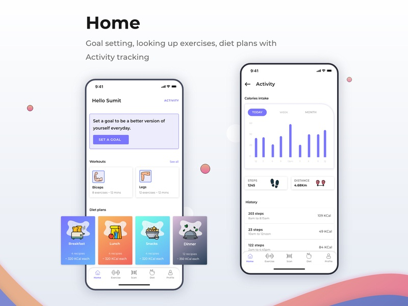 Home: dashboard of a fitness app diet app exercise app activity dashboard design dashboard ui ux design uiux uidesign product design fitness illustration appdesign design app