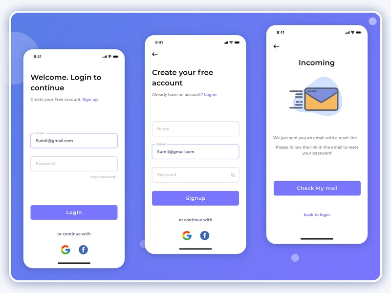Login and Signup pages simple signup login design login ux design uiux uidesign product design design appdesign app